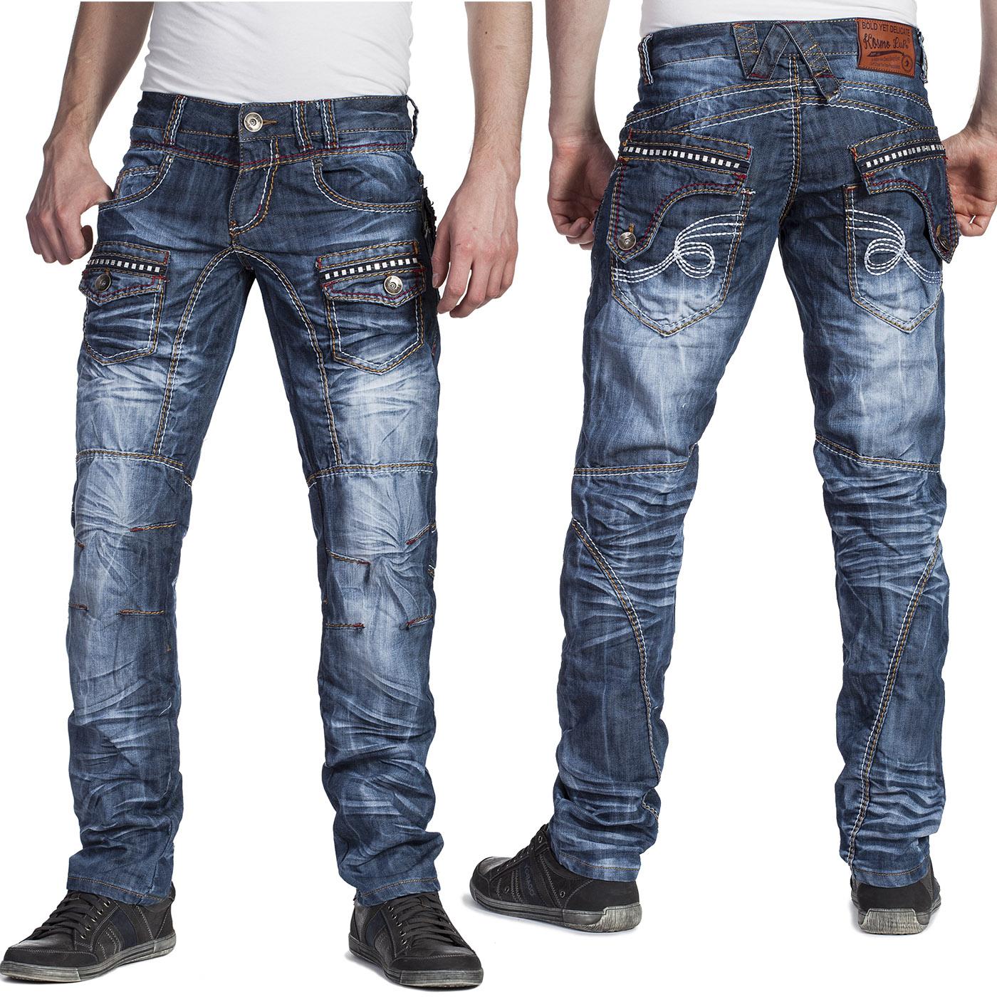 kosmo lupo herren jeans hose dicke doppel n hte und nieten. Black Bedroom Furniture Sets. Home Design Ideas