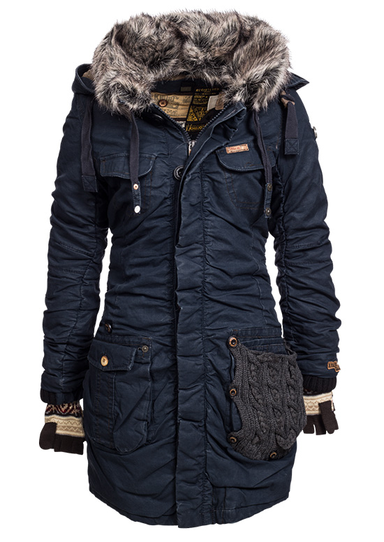 khujo chantal langer damen wintermantel winterjacke parka mit handschuhen ebay. Black Bedroom Furniture Sets. Home Design Ideas