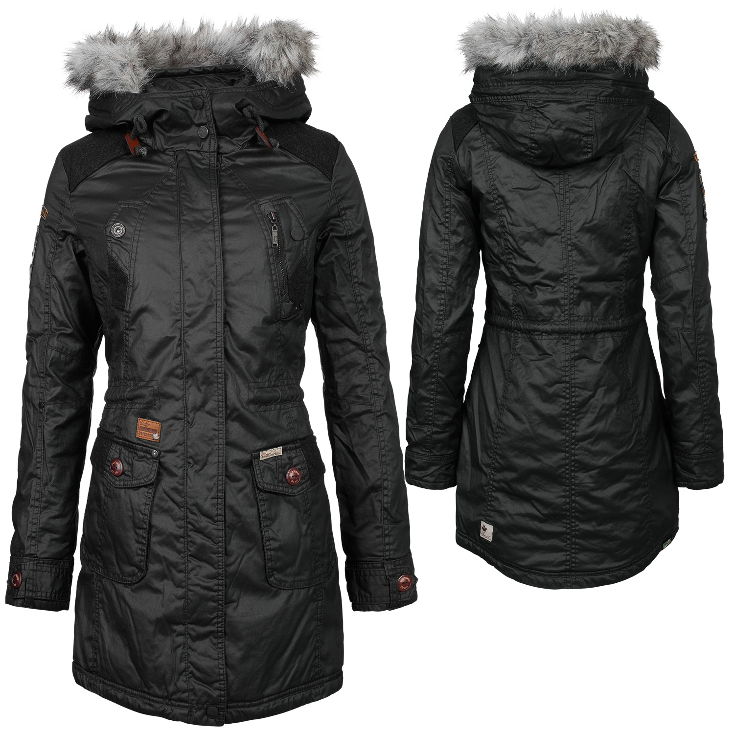 khujo damen winter mantel jacke giuletta plain wintermantel winterjacke ebay. Black Bedroom Furniture Sets. Home Design Ideas