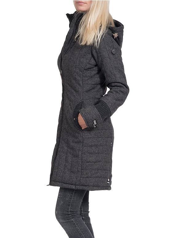 khujo damen winter mantel jacke retro jerry wintermantel parka schwarz grau neu ebay. Black Bedroom Furniture Sets. Home Design Ideas