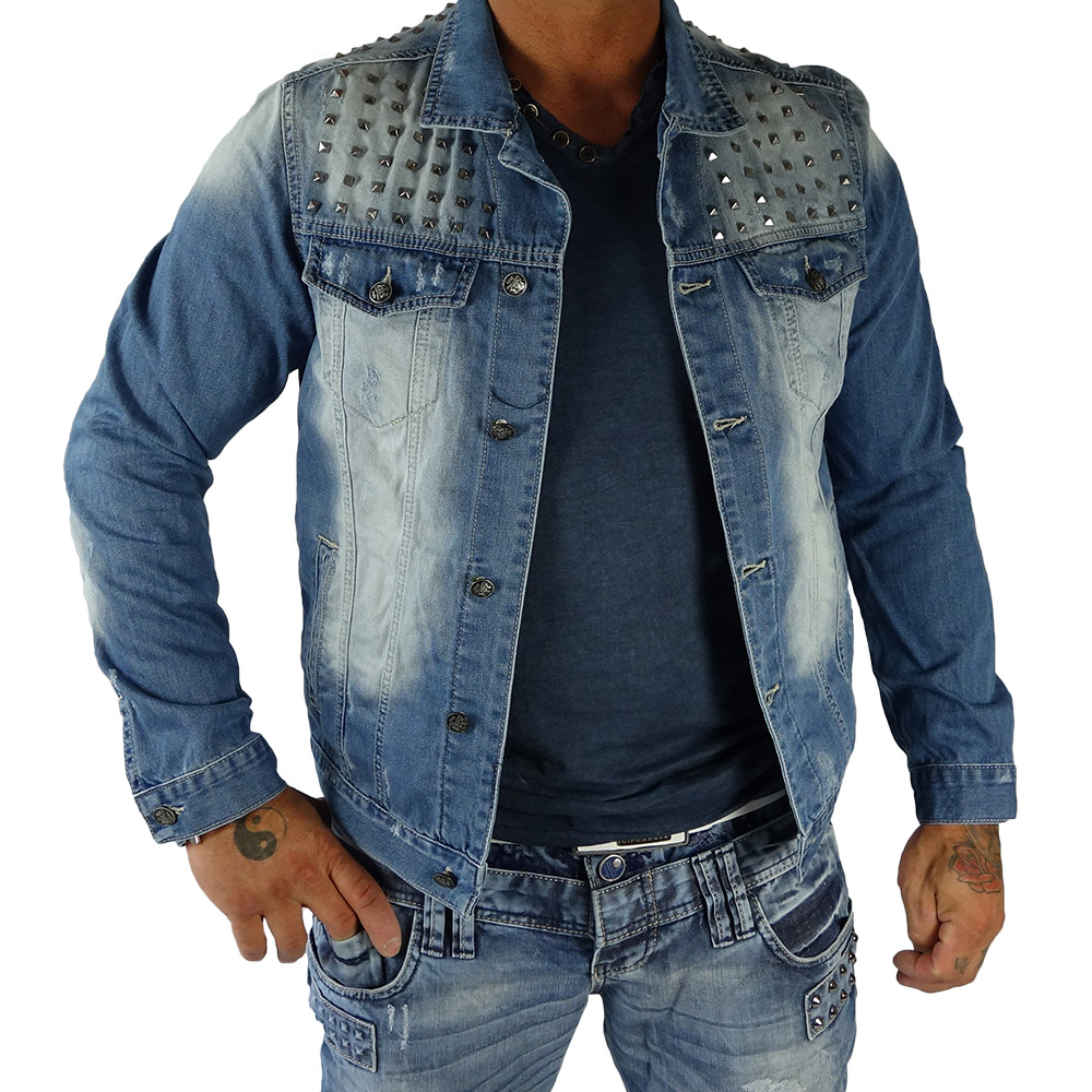 rerock herren jeans bergangs jacke mit nieten denim used vintage jeansjacke ebay. Black Bedroom Furniture Sets. Home Design Ideas