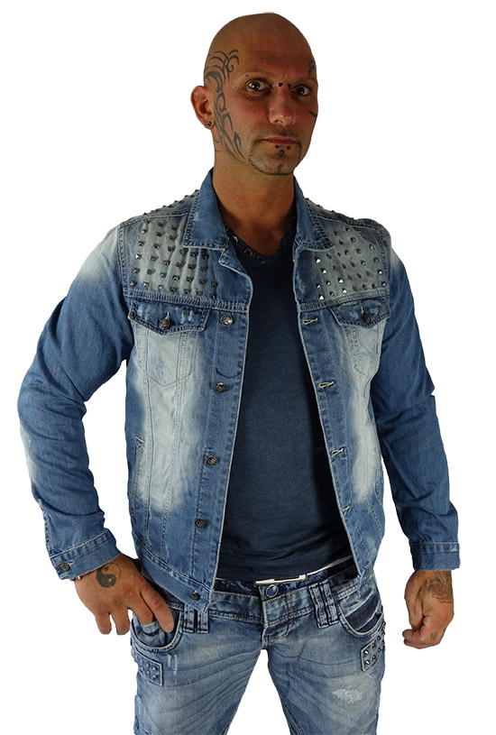 rerock men 39 s jeans transition jacket studded denim. Black Bedroom Furniture Sets. Home Design Ideas