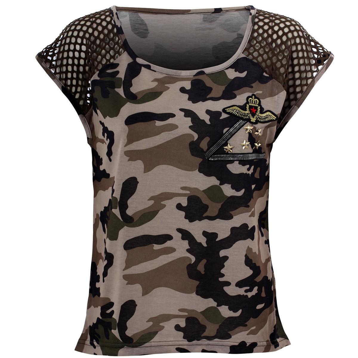 eve damen shirt mit netz camouflage t shirt top oberteil nks3169 ebay. Black Bedroom Furniture Sets. Home Design Ideas
