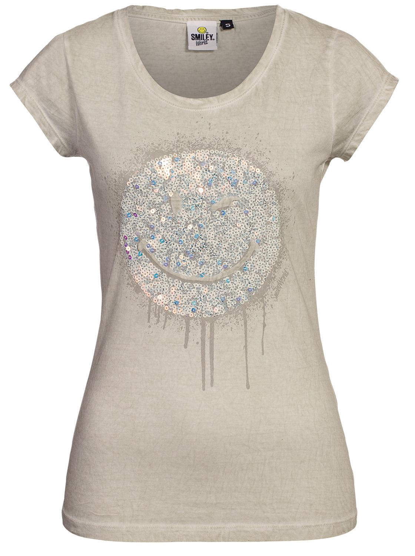 smiley world damen pailletten kurzarm shirt t shirt top. Black Bedroom Furniture Sets. Home Design Ideas
